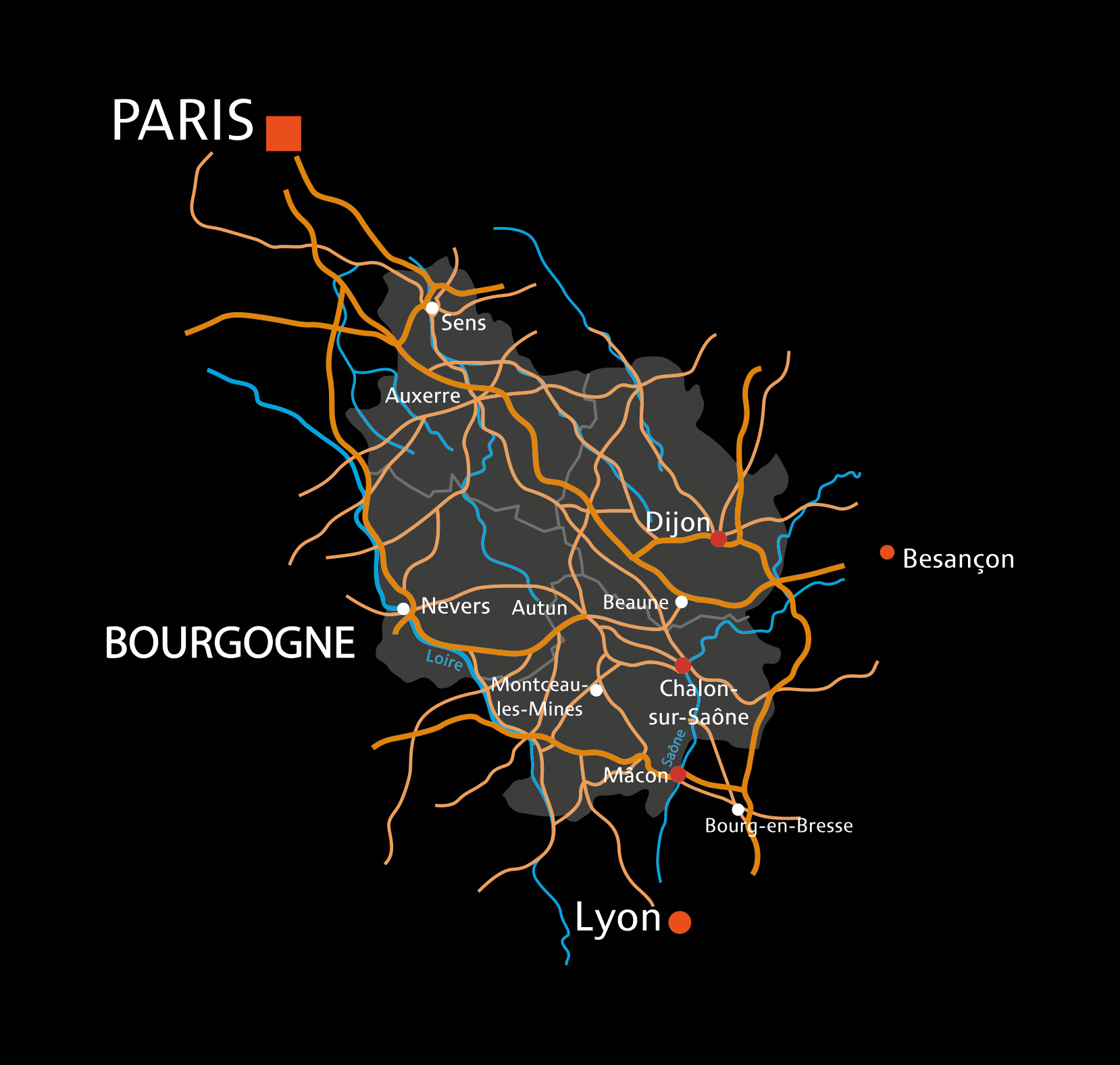Geographic area for the production of  Marc de Bourgogne